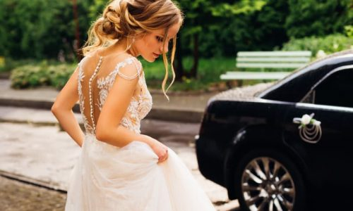 incredible bride in white wedding dress and with a beautiful hai